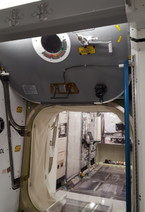 Interior hatch of ISS training module, NASA Houston