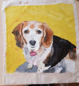 gabi the beagle painted on silk